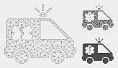 Mesh Emergency Car Model With Triangle Mosaic Icon. Wire Carcass Polygonal Mesh Of Emergency Car. Ve poster