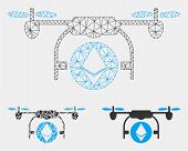 Mesh Ethereum Airdrone Model With Triangle Mosaic Icon. Wire Carcass Triangular Mesh Of Ethereum Air poster