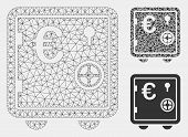 Mesh Euro Banking Safe Model With Triangle Mosaic Icon. Wire Carcass Triangular Mesh Of Euro Banking poster
