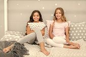 Sleepover Time For Fun Gossip Story. Best Friends Forever. Soulmates Girls Having Fun Bedroom Interi poster