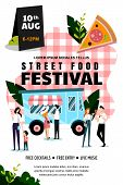 Street Food Festival Poster, Banner Design Template. Spring And Summer Weekend And Events Outdoor Le poster