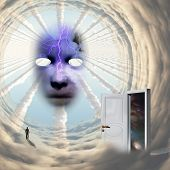 Surrealism. Face of God. Mask in the tunnel of clouds. Lonely man in a distance. Opened door to anot poster