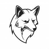 Fox Head Icon, Wild Canine Animal Muzzle. Vector Outline Fox Head Symbol Of Sport Team Mascot, Hunti poster