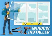 Window Installer Profession, Home Windows Installation Service Company. Vector Carpenter Worker With poster