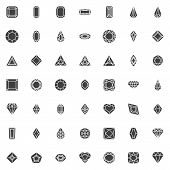 Various Diamond Shapes Vector Icons Set, Modern Solid Symbol Collection, Filled Style Pictogram Pack poster