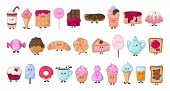 Set Of Kawaii Sweet Food - Sweets Or Desserts On White Background, Cute Characters For Print, Cards. poster