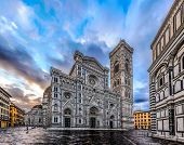 Duomo di Firenze Cathedral at dusk with the Baptistery of St.John in view, Florence, Italy, Europe,  poster