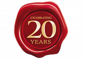 picture of wax  - celebrating 20 years wax seal over white background - JPG