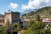 Torre Del Infantado In Potes, Cantabria, Spain. Today It Is The Town Hall. Old Town Of Potes In Pico poster