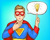 Coming Up With Super Idea, Great Thought Pop Art Vector Concept. Teenager Boy With Amazed, Surprised poster