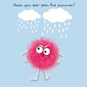Funny  Summer Banner With Fluffy Pink Creature poster