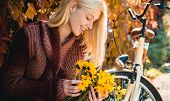 Autumn Woman. Happy Girl On Autumn Walk. Carefree Young Woman In Trendy Vintage Pullover Or Sweater. poster