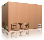 cardboard box blank with copy space and isolated on white brown package for shipping order moving or