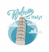 Welcome To Italy! Leaning Tower Of Pisa, Italy. Unique Construction. Symbol Of The Country. Invitati poster