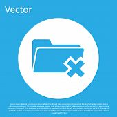 Blue Delete Folder Icon Isolated On Blue Background. Folder With Recycle Bin. Delete Or Error Folder poster