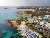 Top View Of The City Of Cyprus And The City Of Ayia Napa. Air View Of The Resort Mediterranean Coast poster