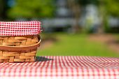 Picnic Basket Checkered With Picnic Tablecloth poster
