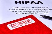 Health Insurance Portability And Accountability Act Hipaa, Red Folder With Inscription Confidential  poster