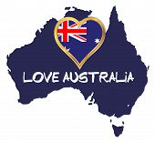 Outline Map Of Australia With Flag And Love Australia Text Over A White Background poster
