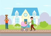 Single Parent And Fatherhood. Father Walking With Baby Girl In Pram And Dad Piggyback Riding A Daugh poster
