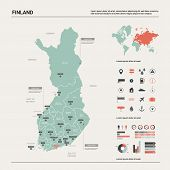Vector Map Of Finland. Country Map With Division, Cities And Capital Helsinki. Political Map,  World poster
