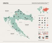 Vector Map Of Croatia. Country Map With Division, Cities And Capital Zagreb. Political Map,  World M poster