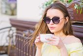 Morning Vibes In Cafe. Summer Fashion. Meeting In Cafe. Good Morning. Breakfast Time. Stylish Woman  poster