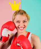 Fight For Success. Vip Gym. Fighting Queen. Woman Boxing Glove And Crown Symbol Of Princess. Queen O poster