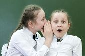 Schoolgirls Classmates Share Their Secrets Of Secrets Telling A Whisper In His Ear Near The Blackboa poster