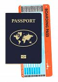 Passport And Plane Ticket. A Modern Biometric Passport With A Boarding Pass. Travel And Tourism Conc poster