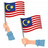 Malaysia Flag In Hand. Patriotic Background. National Flag Of Malaysia Vector Illustration poster
