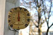 stock photo of cold-weather  - thermometer showing it - JPG