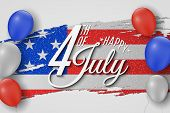 Happy Independence Day. Greeting Card For 4th Of July. Grunge Brush. Text Banner On Usa Flag Backgro poster