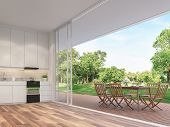Outdoor Dining Table On The Balcony 3d Render.rooms Have Wooden Floors, Decorated With Wooden Furnit poster