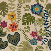 Tropical Floral Seamless Pattern, Tropical Flowers On Neutral Background Surface Pattern Background  poster