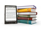 E-book reader. Livros e tablet pc. 3D
