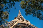 Eifel Tower Full Length Bottom Up Low Angle Shot From Tower Basement With Blue Sky Cloudy Background poster