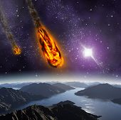 stock photo of meteors  - Attack of the asteroid on the planet in the universe - JPG
