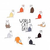 World Cat Day Background. Cute Cats Set On A White Background. poster