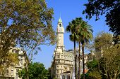 Stunning Historic Buildings In Downtown Buenos Aires View From Plaza De Mayo Square, Argentina, Sout poster