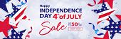 Fourth Of July Sale Long Horizontal Banner. 4th Of July Holiday Background. Usa Independence Day Des poster