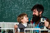 Back To School - Education Concet. Child And Teacher In The Class Room. Back To School And Home Scho poster
