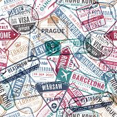 Travel Stamp Pattern. Vintage Traveler Passport Airport Visa Arrived Stamps. Traveling World Vacatio poster