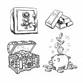 Finance, Money Set. Metal Bank Safe, Gold Bars, Old Treasure Chest With Gold Coins, Piggy Bank With  poster