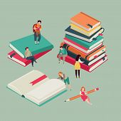 Book Festival Poster. Literary Miniature Of Education Books With Reading Young People. Library Vecto poster