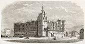 Refurbished keep of Chateau de Saint-Germain-en-Laye.  Created by Fichot, published on L'illustration, Journal Universel, Paris, 1863 poster