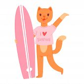 Surf Vector Cat Animal Surfer Character Surfing On Surfboard Illustration Animalistic Cartoon Young  poster