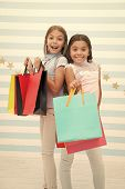 Girls Like Shopping. Kids Happy Small Girls Hold Shopping Bags. Enjoy Shopping With Best Friend Or S poster