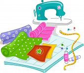 picture of quilt  - Illustration of Materials Used in Quilting - JPG