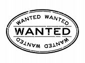 Grunge Black Wanted Word Oval Rubber Seal Stamp On White Background poster